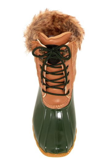 Artic Plunge Faux Fur Rubber Tan and Green Boots Image 2