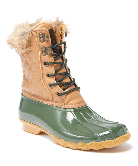 Artic Plunge Faux Fur Rubber Tan and Green Boots Image 3