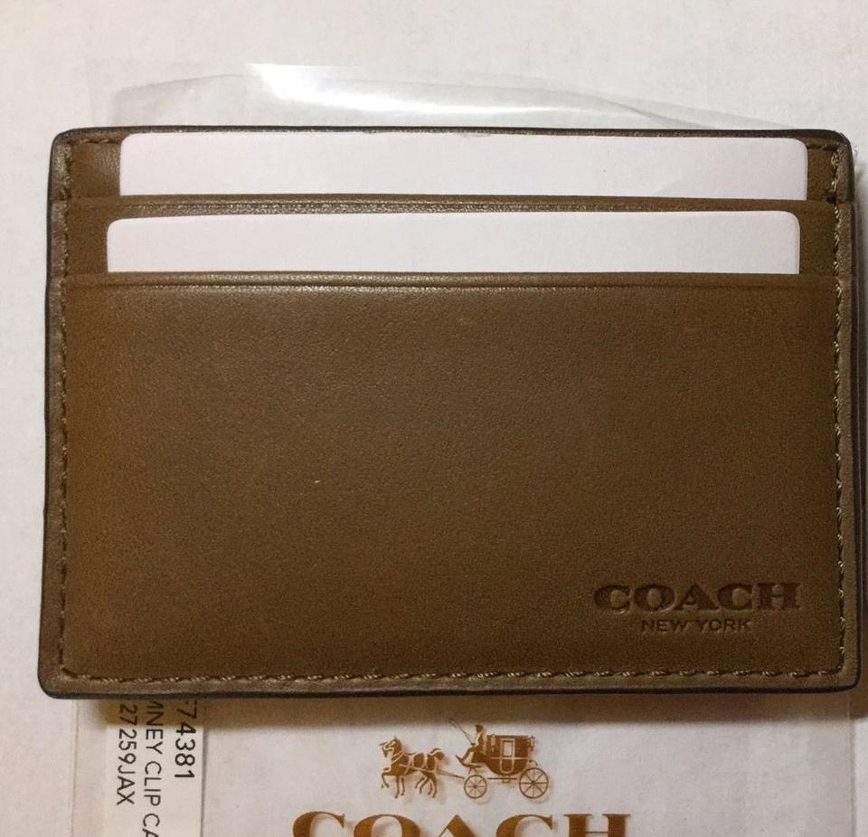 Coach Brown New Leather Business Card Case Holder with Money Clip ...