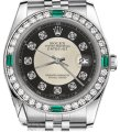 Rolex Ladies Rolex 26mm Datejust Silver Tuxedo Dial Emerald Diamond Accent Image 0