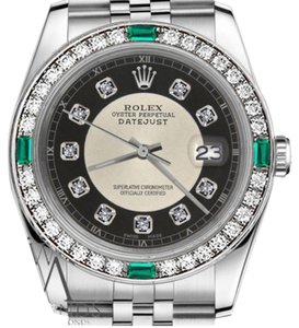 Rolex Ladies Rolex 26mm Datejust Silver Tuxedo Dial Emerald Diamond Accent