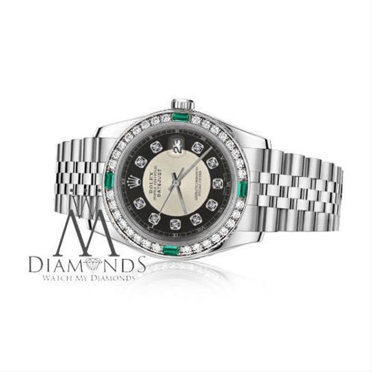 Rolex Ladies Rolex 26mm Datejust Silver Tuxedo Dial Emerald Diamond Accent Image 1
