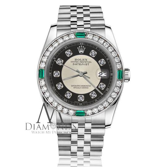 Rolex Ladies Rolex 26mm Datejust Silver Tuxedo Dial Emerald Diamond Accent Image 2