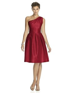 Alfred Sung Barcelona Red Dupioni D458 Modern Bridesmaid/Mob Dress Size 6 (S)