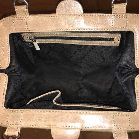 BCBGMAXAZRIA Leather Chain Satin Silver Hardware Satchel in Taupe Image 1