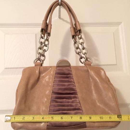 BCBGMAXAZRIA Leather Chain Satin Silver Hardware Satchel in Taupe Image 4