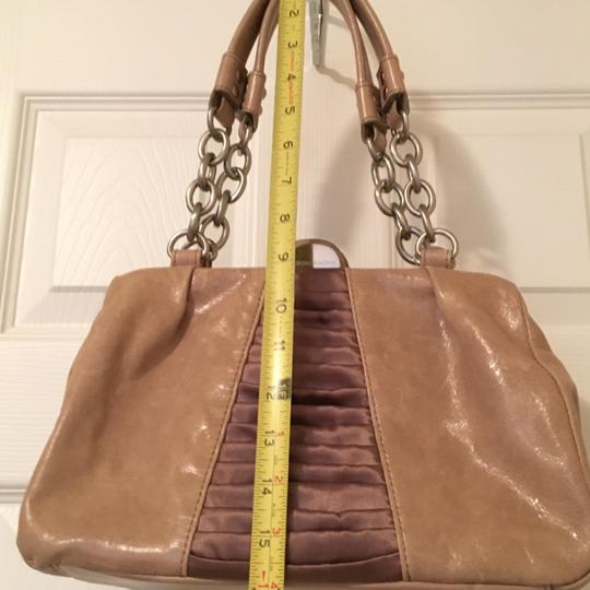 BCBGMAXAZRIA Leather Chain Satin Silver Hardware Satchel in Taupe Image 5