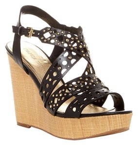 Ivanka Trump Summer Sale Summer Sandals Date Night Cut Out Black Leather Wedges