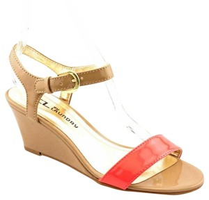 Chinese Laundry Wedge Colorblock Heels Patent Nude Heels Coral/Nude Sandals
