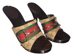 Gucci Studded Gold Hardware Leather Brown Green Red Monogram Mules