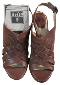 Frye Leather Woven Braided Cognac Wedges
