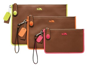 Coach Leather Summer Wristlet in Cognac