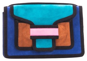 Pierre Hardy Blue Suede Blue, Multi-Color Clutch