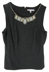 CAbi Embellished Wide Strap Dark Career Top Gray