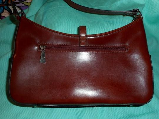 Other Leather Look Zip Closure Silver Metal Accent Baguette Image 2
