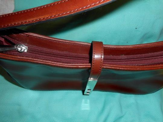 Other Leather Look Zip Closure Silver Metal Accent Baguette Image 3
