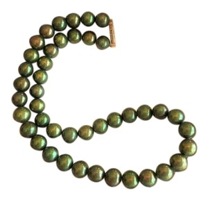 Stunning Unique 9-10mm Freshwater Dyed Pearl Necklace 14K Yellow Gold