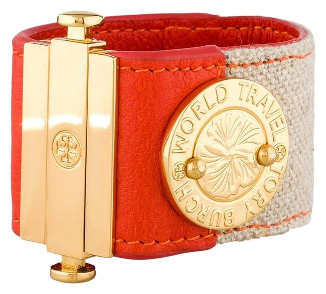 Item - Multi-color World Travel Orange Tan Leather Canvas Cuff with Gold Tone Logo Bracelet