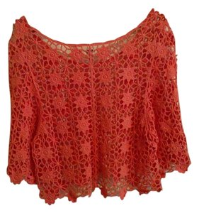 Ya Los Angeles Crochet Festival Crop Top Coral