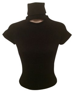 Moda International Cut Out Roll Neck Cap Sleeve Sweater