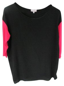 Bailey 44 Pink Sleeves 3/4 Sleeve Medium Scoop Neck T Shirt Black