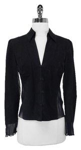 Armani Top Black Suede & Sheer