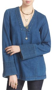 Free People Hendrix Denim Trapunto Cuffs Relaxed Tunic