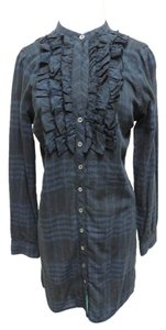 Joie short dress Black and Navy Plaid Cotton Ruffle on Tradesy