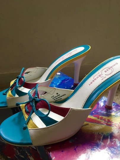 Chinese Laundry Multicolored Stiletto Bright Neon Bows White, Blue, Pink, Yellow Pumps Image 1