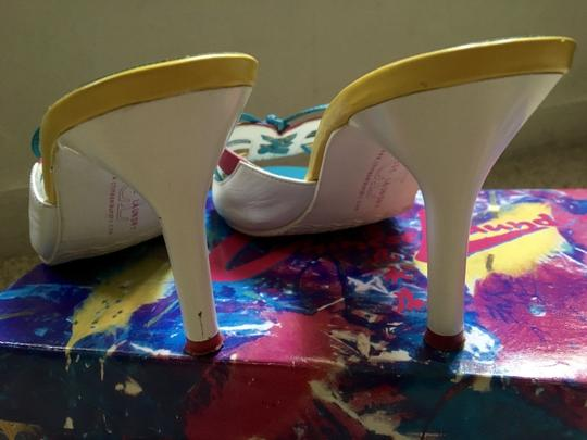 Chinese Laundry Multicolored Stiletto Bright Neon Bows White, Blue, Pink, Yellow Pumps Image 5