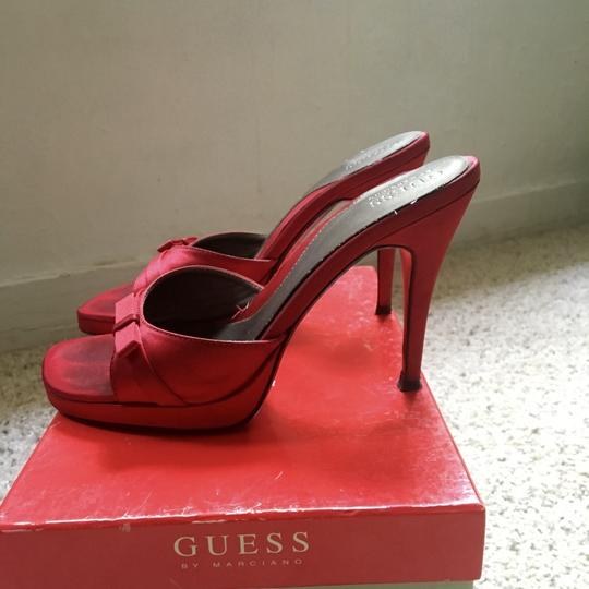 Guess By Marciano Satin Stilleto Bows Red Pumps Image 1