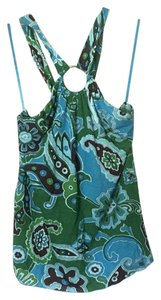 Banana Republic Paisley Halter Strapless Keyhole Top Blue, Green, Multi