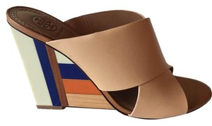 Tory Burch tan with with blue, orange, cream stripes Wedges