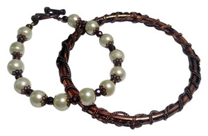 New Copper & Glass Pearl Bracelet Bangle Set 2 Pc. J2651