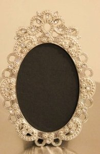 Set Of 10 Vintage Style Oval Jeweled Rhinestone Frame Bling Silver Diamond Chalkboard Table Number Frames Ornate Picture Reception Decoration