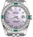 Rolex Ladies Rolex 26mm Datejust Pink MOP Dial Emerald with Diamond Image 0