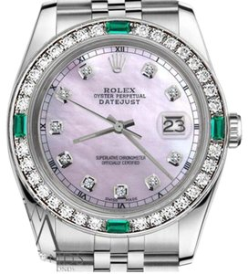 Rolex Ladies Rolex 26mm Datejust Pink MOP Dial Emerald with Diamond