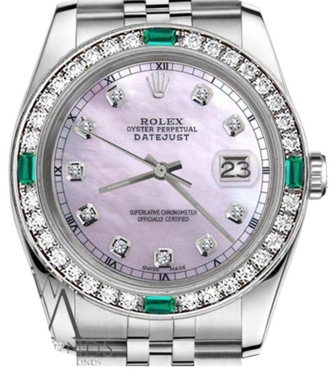 Preload https://img-static.tradesy.com/item/16237579/rolex-ladies-26mm-datejust-pink-mop-dial-emerald-with-diamond-watch-0-1-540-540.jpg