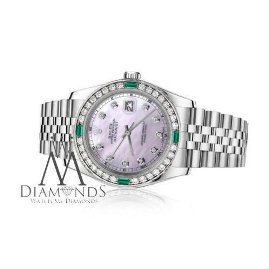 Rolex Ladies Rolex 26mm Datejust Pink MOP Dial Emerald with Diamond Image 1