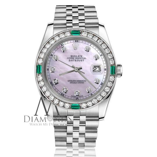 Rolex Ladies Rolex 26mm Datejust Pink MOP Dial Emerald with Diamond Image 2