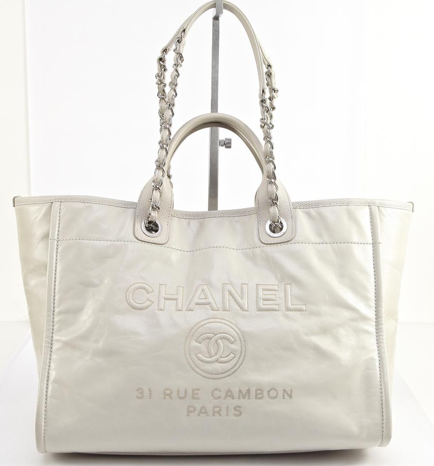 6796a7cf4 Chanel Deauville Bag 16p Shopper Silver Hw Large Retails Ecru Leather Tote  - Tradesy