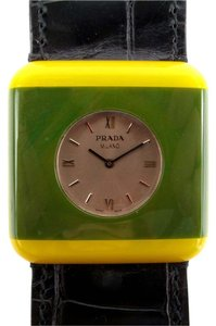 Prada WATCH - BRACELET GREEN YELLOW BLACK LEATHER BAND RESIN STAINLESS STEEL