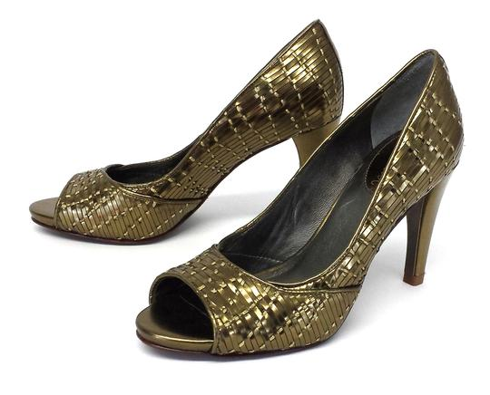 Cole Haan Gold Woven Pumps