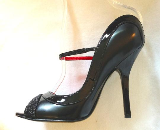 Charles Jourdan Beading Stiletto Strappy Avant Guarde Formal Black Pumps Image 2