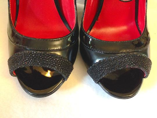 Charles Jourdan Beading Stiletto Strappy Avant Guarde Formal Black Pumps Image 4