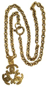 Chanel Chanel Gold Logo Medallion Necklace