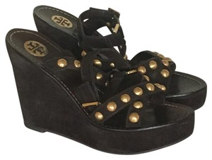Tory Burch Peep Toe Sandals Flats Brown Wedges