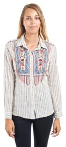 3J Workshop Embroidered Long Sleeve Cotton Button Down Shirt Pinstripe