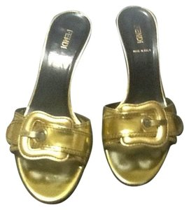 Fendi Gold Mules