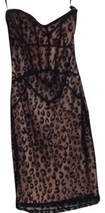 bebe Leopard Party Tight Sexy Hot Strapless Dress